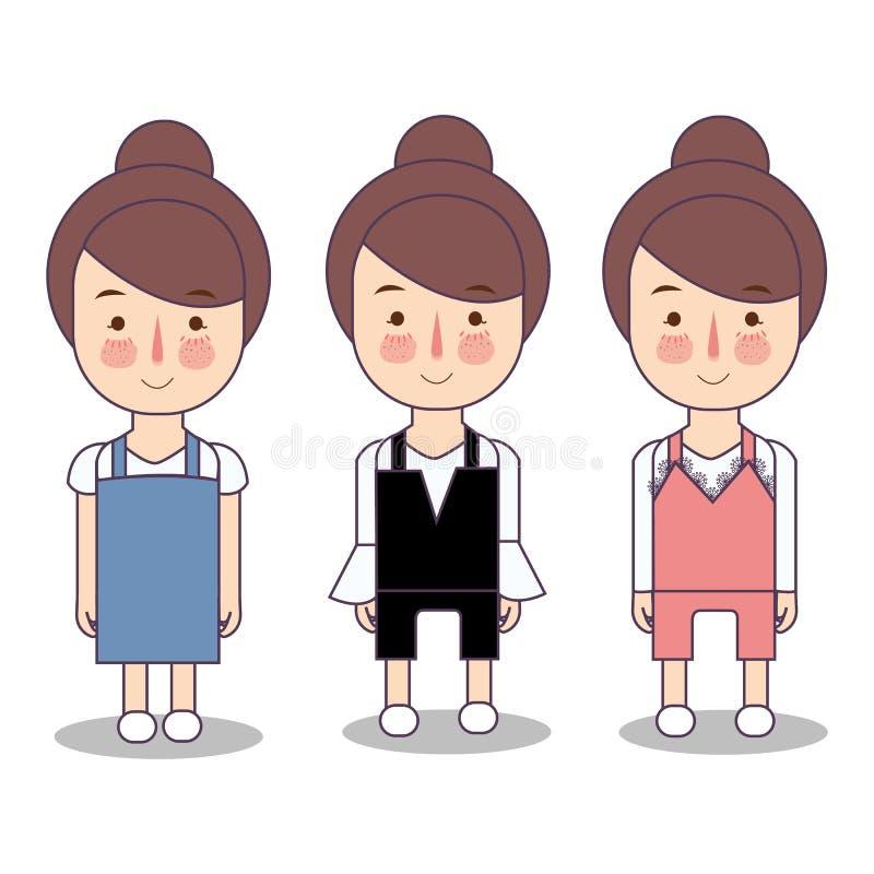 Mode de port d'illustration de garde-robe d'habillement de jeans de salopette de fille Illustration de vecteur illustration stock