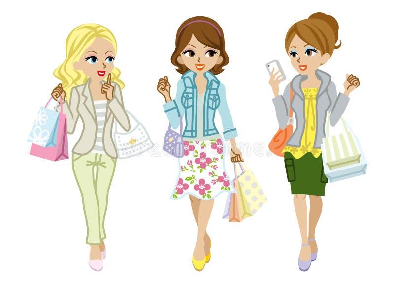 Mode de ressort de filles d'achats illustration stock