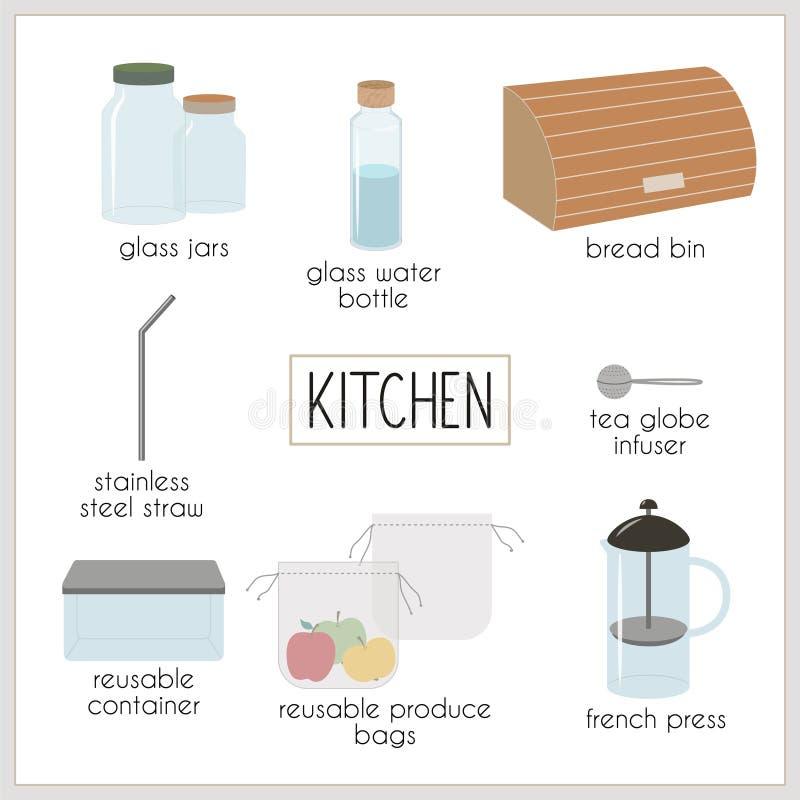 Mode de vie de rebut d'Eco, vert et zéro pour la cuisine illustration libre de droits