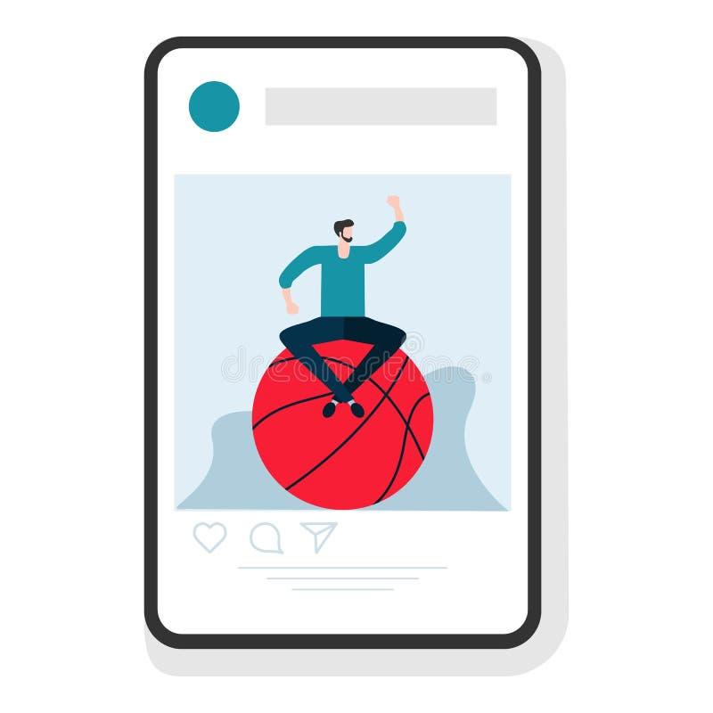Mode de vie sain d'appli de sport de smartphone de personnes illustration libre de droits