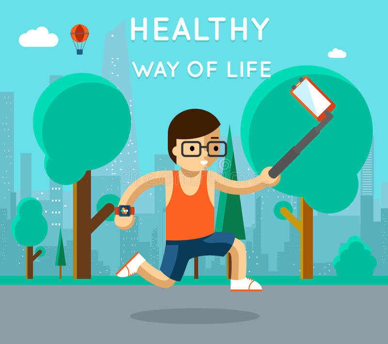 Mode de vie sain Selfie de monopod de sport en parc illustration libre de droits