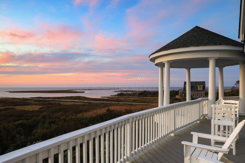 Mode de vie Salvo North Carolina d'île de coucher du soleil photos libres de droits