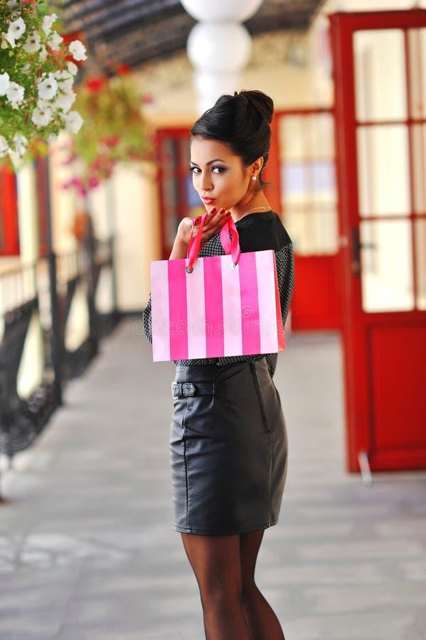 Mode-Einkaufsmädchen-Porträt Schönheit mit Einkaufsba stockbild