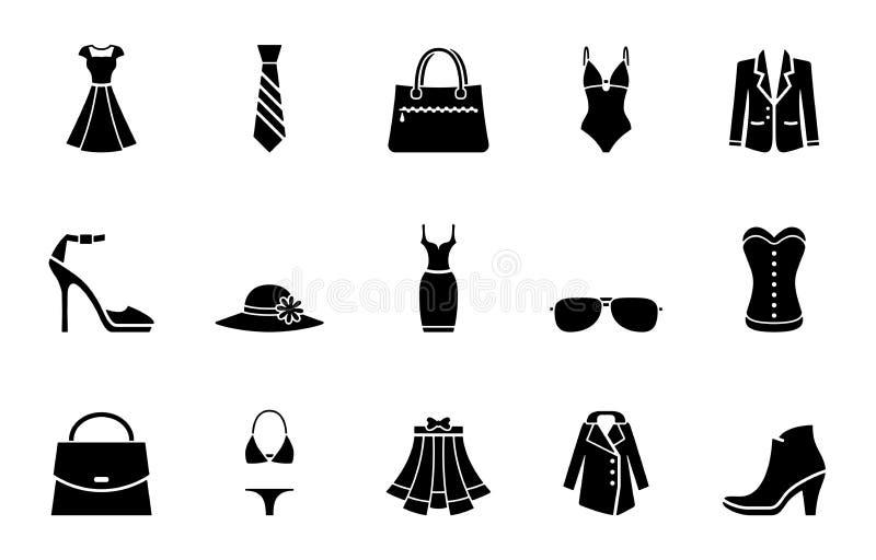 Mode et ensemble d'icône d'habillement illustration stock