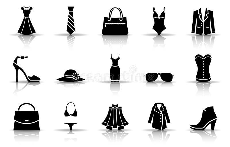 Mode et ensemble d'icône d'habillement illustration de vecteur