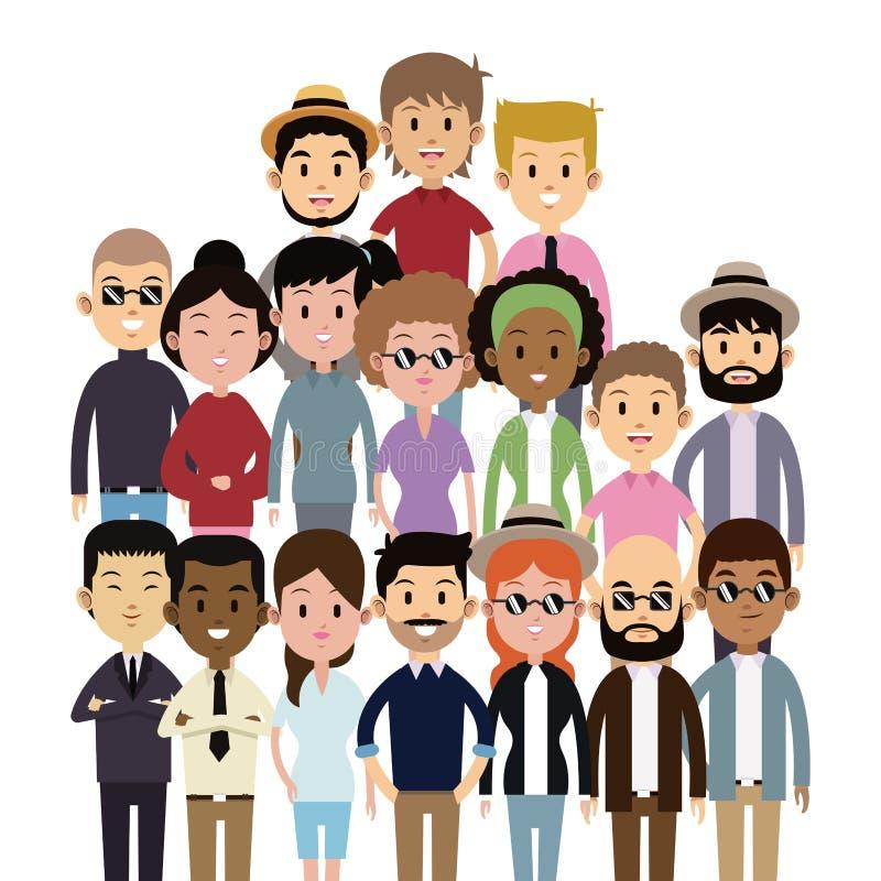 Mode ethnique de grande de groupe multi-culture de personnes illustration stock
