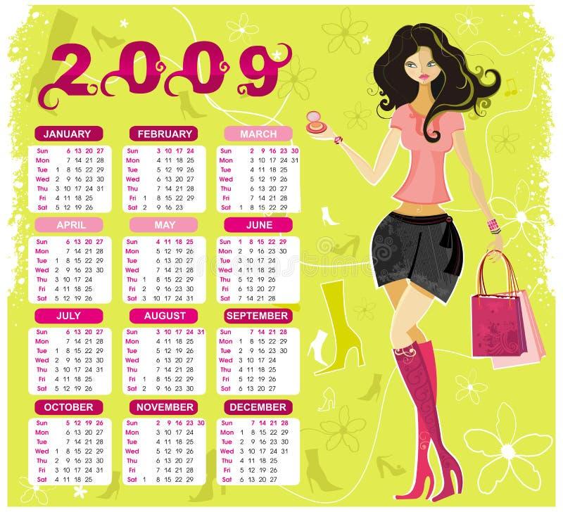 mode för 2009 kalender vektor illustrationer