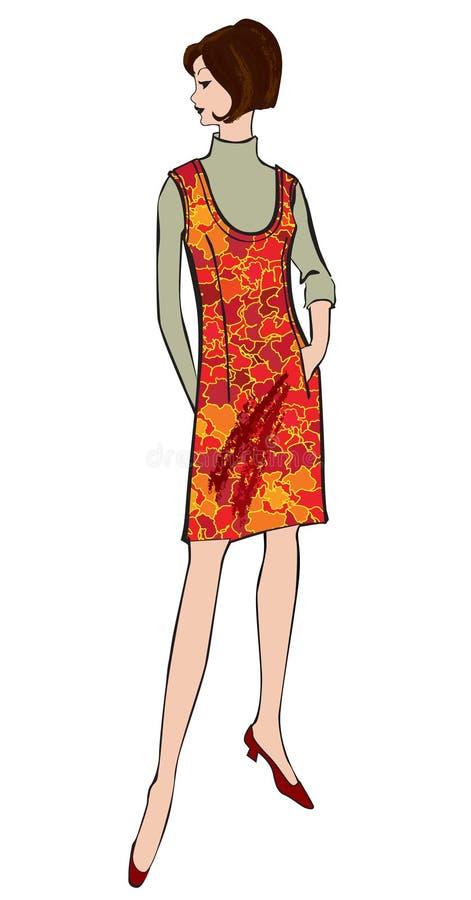 Mode gekleidete Frau (Fünfzigerjahre Sechzigerjahre Art) lizenzfreie abbildung
