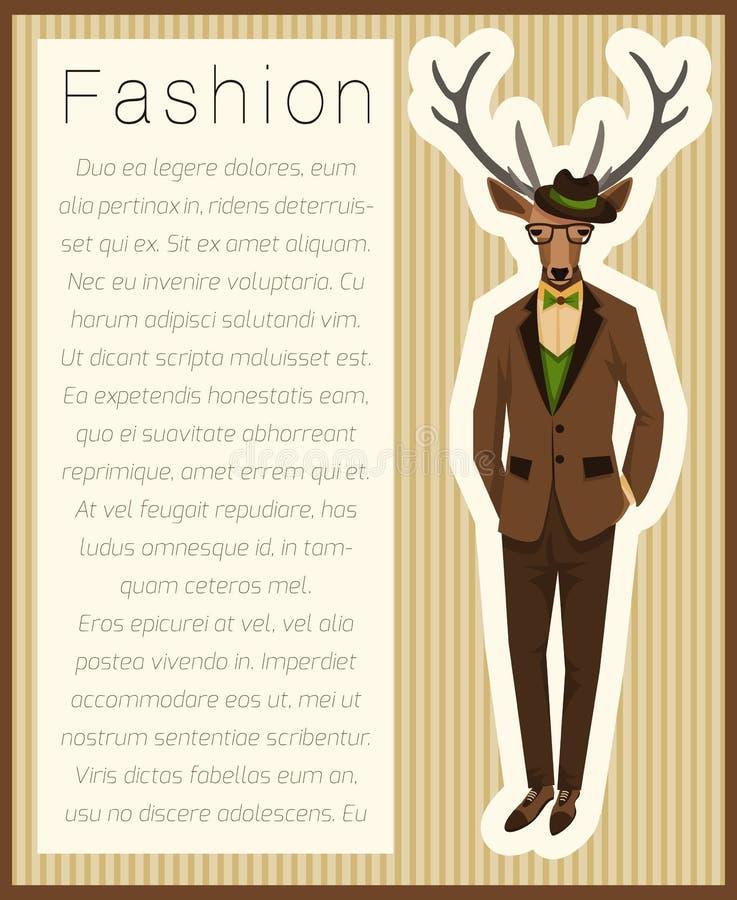 Mode habillée vers le haut des cerfs communs illustration libre de droits
