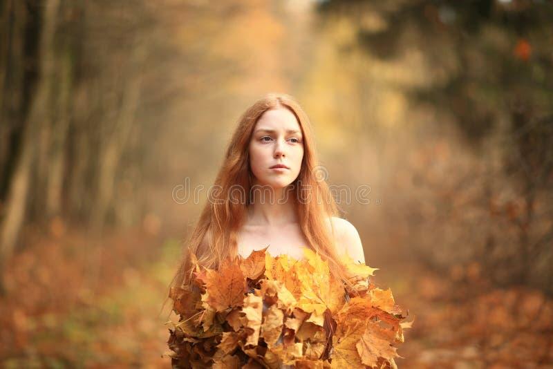 Mode-Herbstmodell, Fall-Blätter kleiden, Schönheits-Mädchen an stockfoto