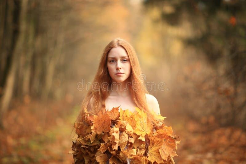 Mode-Herbstmodell, Fall-Blätter kleiden, Schönheits-Mädchen an stockbild