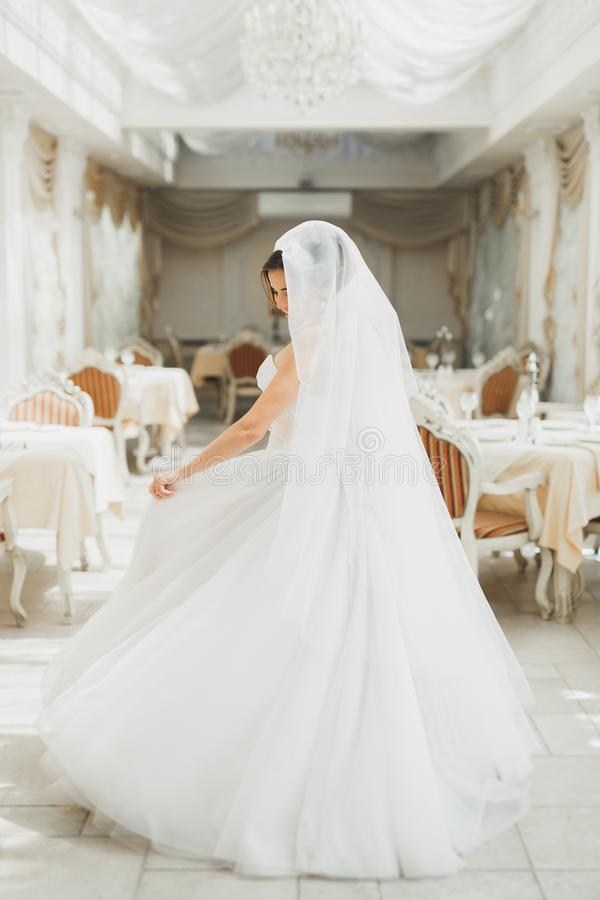 Mode-Hochzeitskleid der schönen Braut tragendes mit Federn mit Luxusfreudenmake-up und Frisur, Studio Innen lizenzfreie stockfotografie
