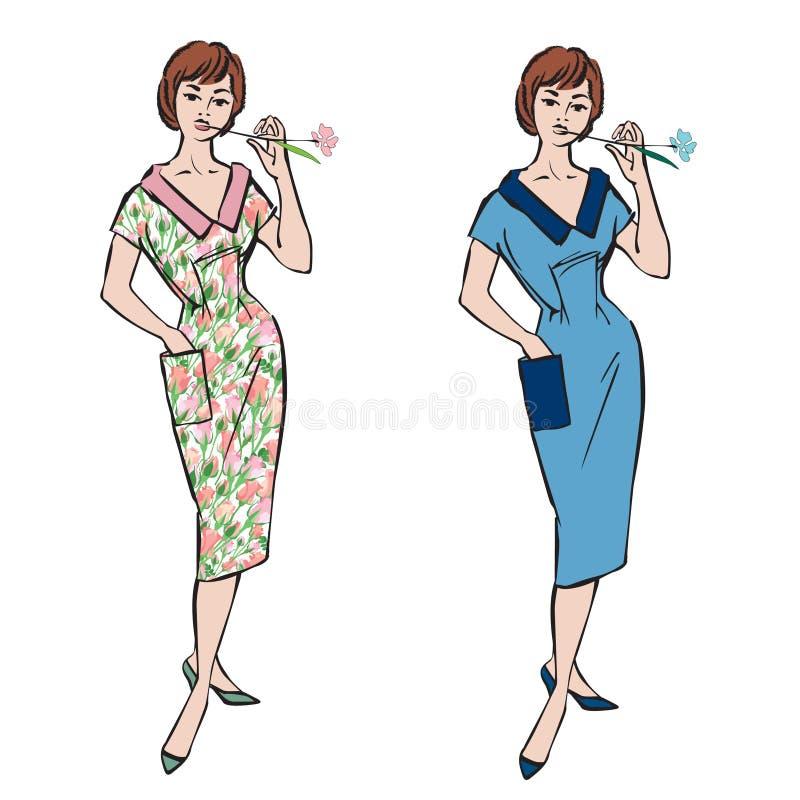 Mode klädde flickor (50-tal60-talstil stock illustrationer