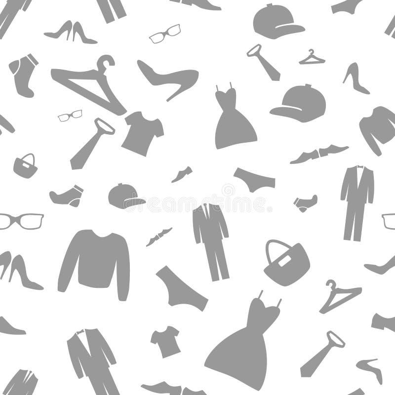 Mode kleidet Einkaufsikonen-Vektorhintergrund Nahtloses patte vektor abbildung