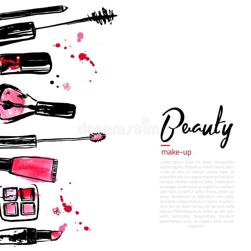 Mode-Kosmetikhintergrund mit bilden Gegenstände: Lippenstift, Pulver, Bürste mit Platz für Ihren Text Ein Foto des jungen Mädchen stock abbildung