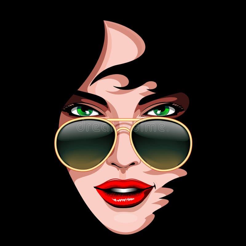 Mode-Mädchen bezaubernder Brunette mit Sonnenbrille-Vektor-Porträt lizenzfreie abbildung