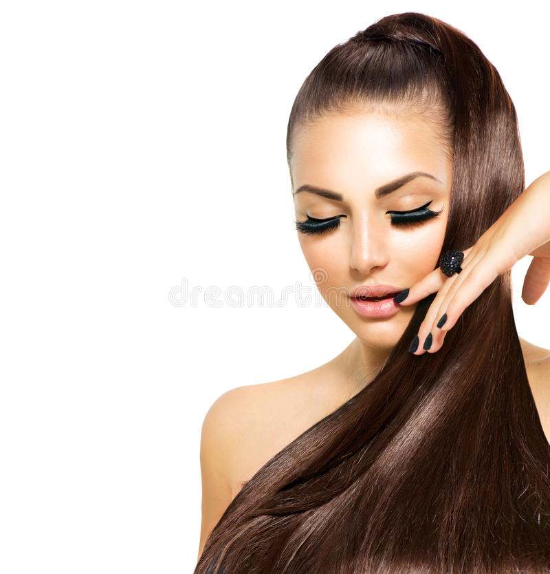 Mode-Mädchen mit dem langen Haar stockbilder