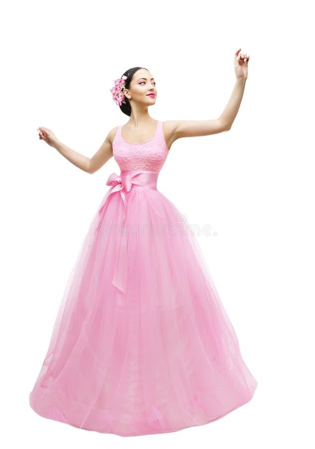Mode-Modell Ball Dress, Frau im langen rosa Kleid, asiatisches Mädchen stockfotos