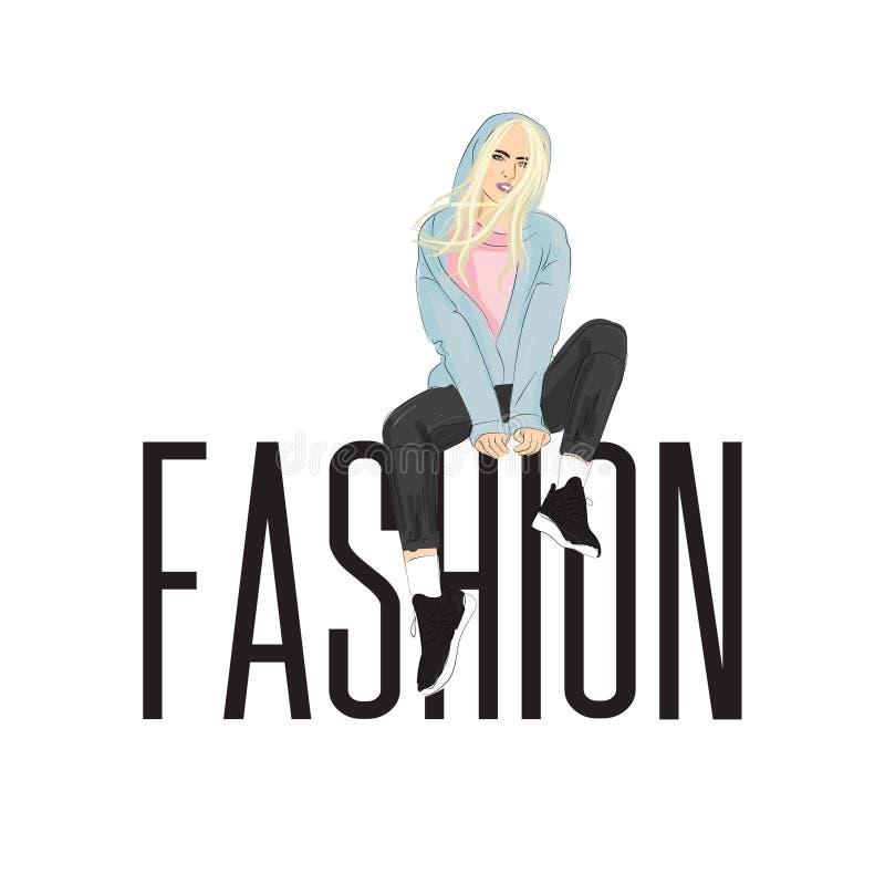 Mode-Modell, das auf enormen Buchstaben aufwirft Schöne junge Blondine im Hoodie und in den Hosen Modefrauenstraßen-Artplakat Han vektor abbildung