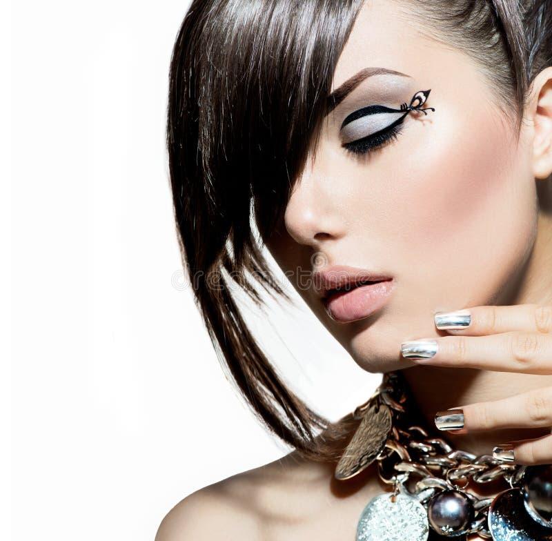 Mode-Modell Girl Portrait lizenzfreie stockfotografie
