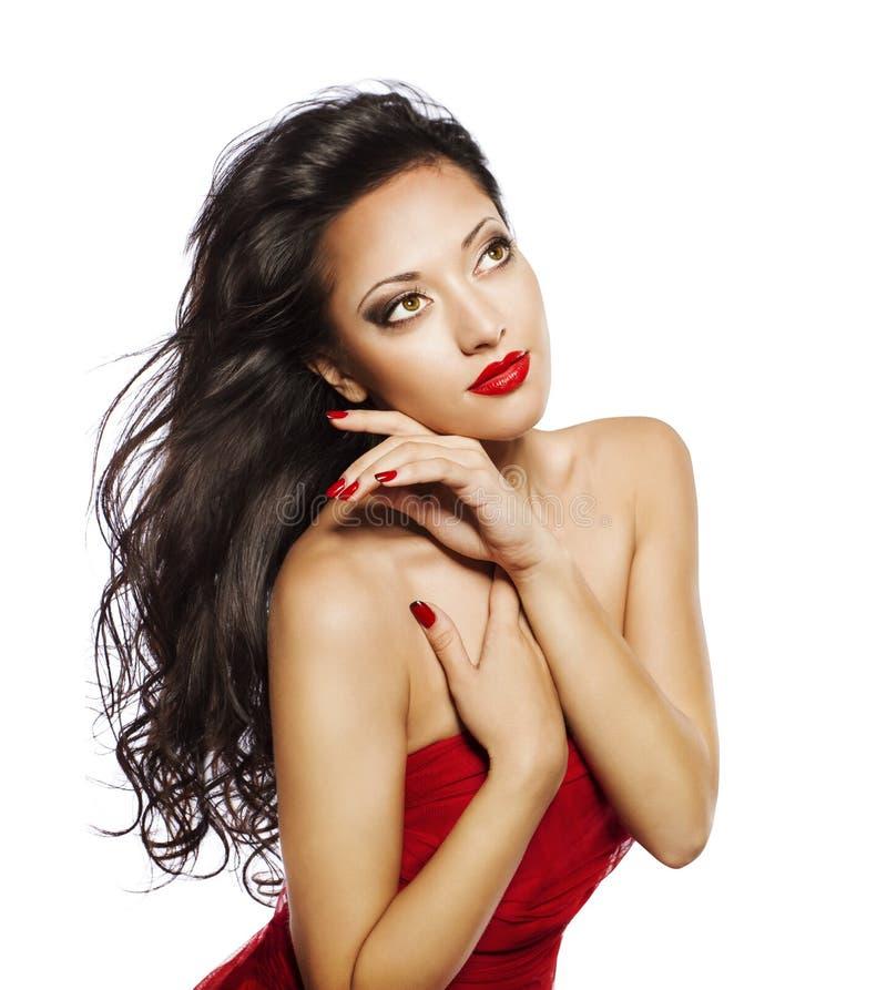 Mode-Modell Long Hair, Frauen-Frisur-Schönheit, träumendes Mädchen lizenzfreie stockbilder