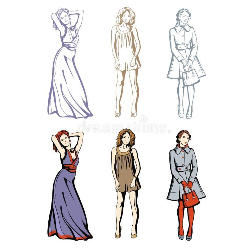 Mode-Modelle im Frühjahr und Sommerkleidung lizenzfreies stockbild