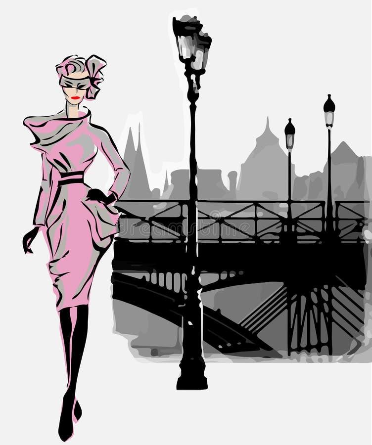 Mode-Modelle im Skizzenart-Fallwinter mit Paris-Stadthintergrund vektor abbildung