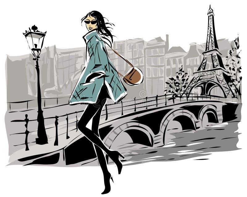 Mode-Modelle im Skizzenart-Fallwinter mit Paris-Stadthintergrund lizenzfreie abbildung