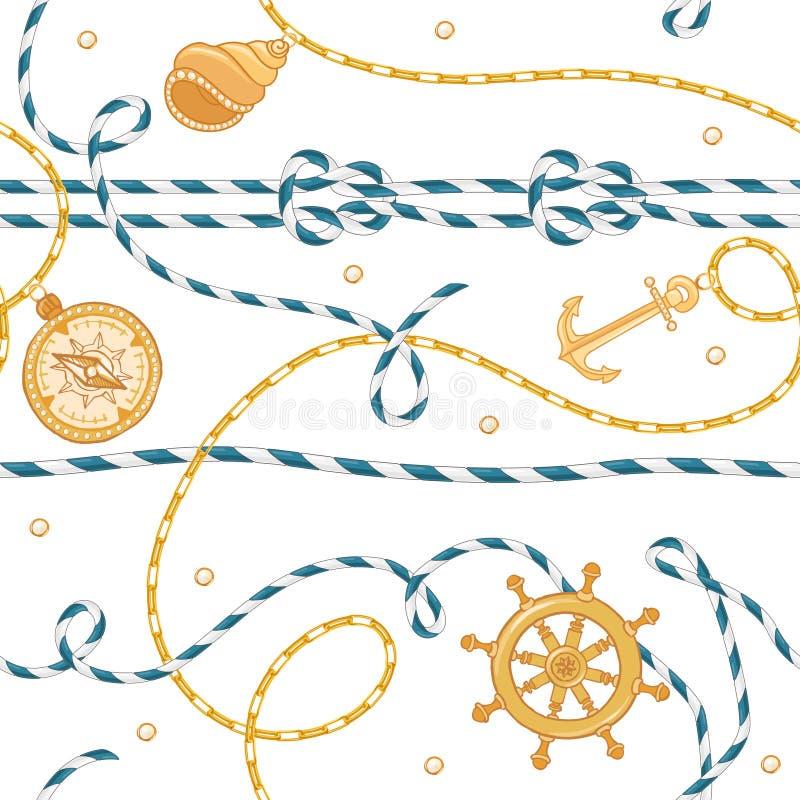Mode-nahtloses Muster mit goldenen Ketten und Anker für Gewebe-Entwurf Marine Background mit Seil, Knoten, Flaggen vektor abbildung