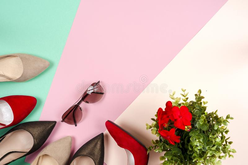 Mode olika skor för kvinnlig på höga häl royaltyfria foton