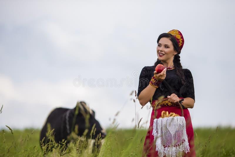 Mode-Porträt des sinnlichen kaukasischen Brunette in russischem Kokoshnik mit Korb von Brot-Ringen Aufstellung gegen Kuh auf dem  stockfoto