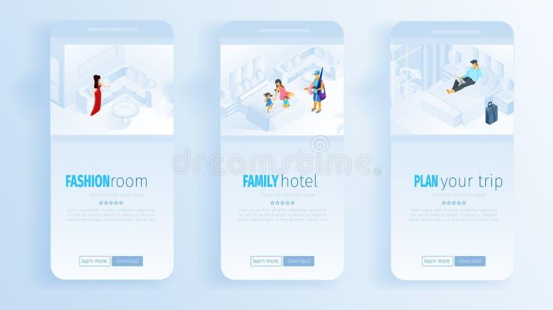 Mode-Raum-Familien-Hotel-Plan-Reise-Social Media stock abbildung
