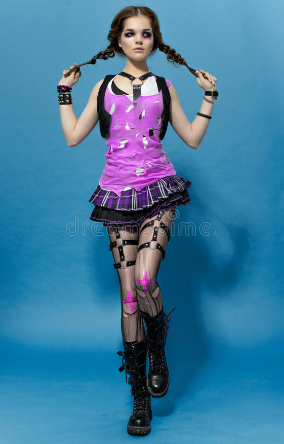 Mode Runk-Art-Modell Girl Portrait frisur Punkfrauen-Make-up stockfotografie