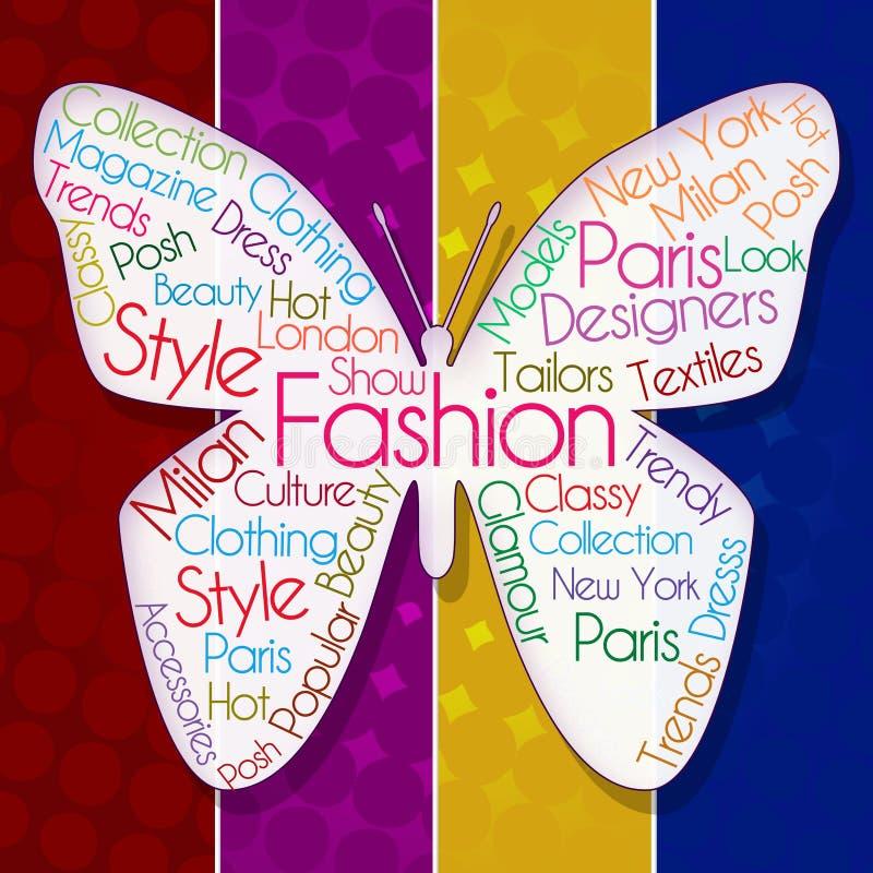 Mode-Schmetterling über buntem Hintergrund stock abbildung
