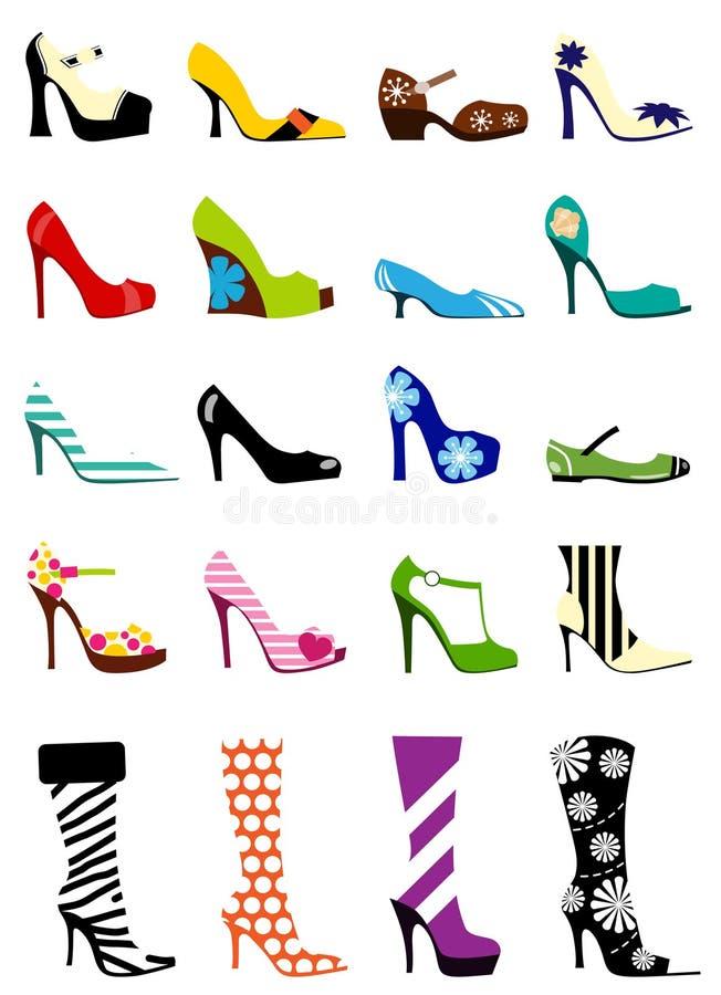 mode shoes kvinnan royaltyfri illustrationer