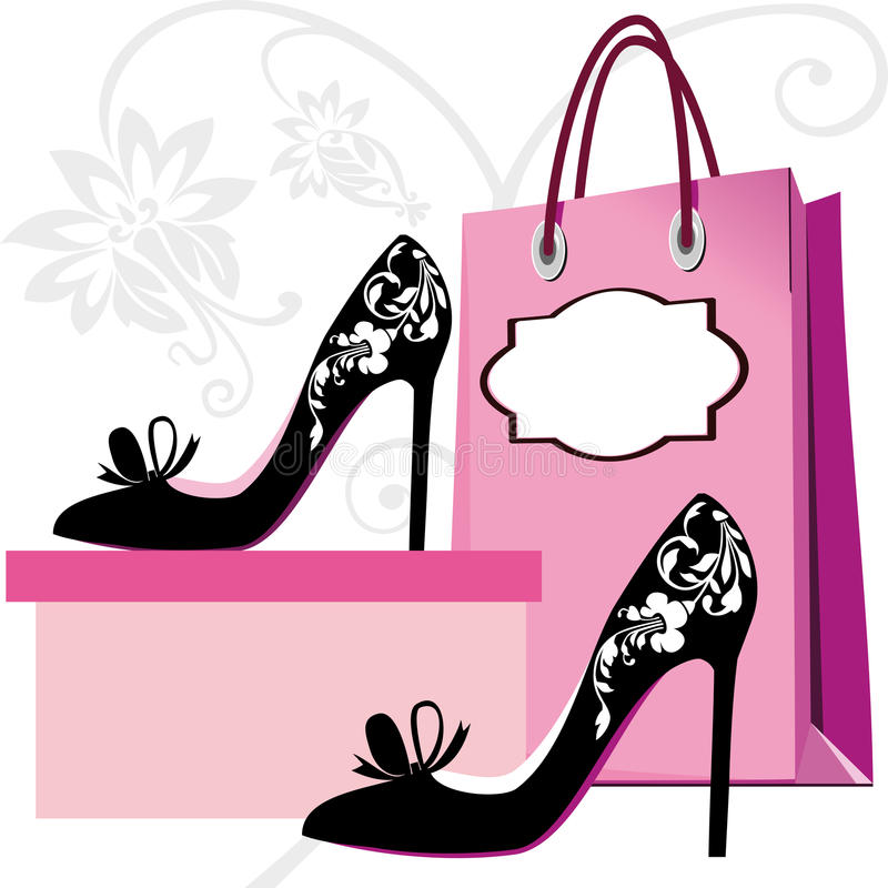 mode shoes shopping royaltyfri illustrationer