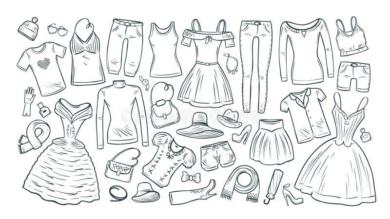 Mode shopping, fastställda symboler för boutique Samling av kläder för ` s för trendiga kvinnor också vektor för coreldrawillustr vektor illustrationer