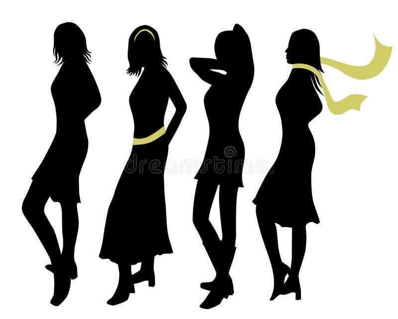 mode silhouettes kvinnor royaltyfri illustrationer