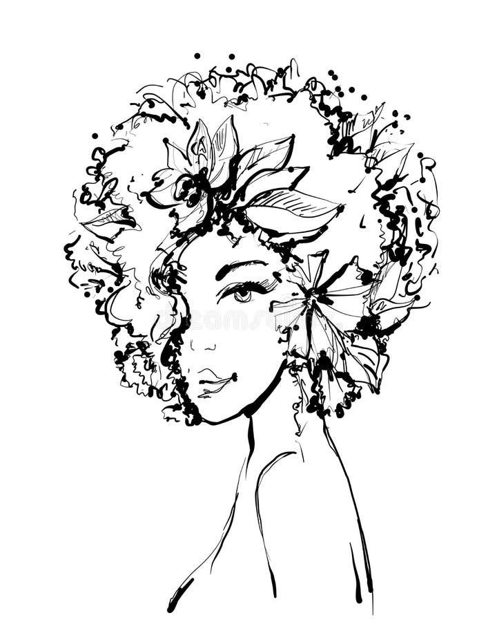 Mode skissar av ung härlig kvinna med blommor och sidor En härlig framsida för flicka s Vektorillustrationsvart och royaltyfri illustrationer