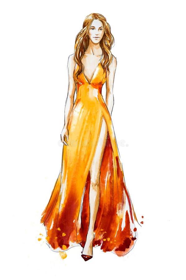 mode skissar Vattenfärgklänning catwalk stock illustrationer