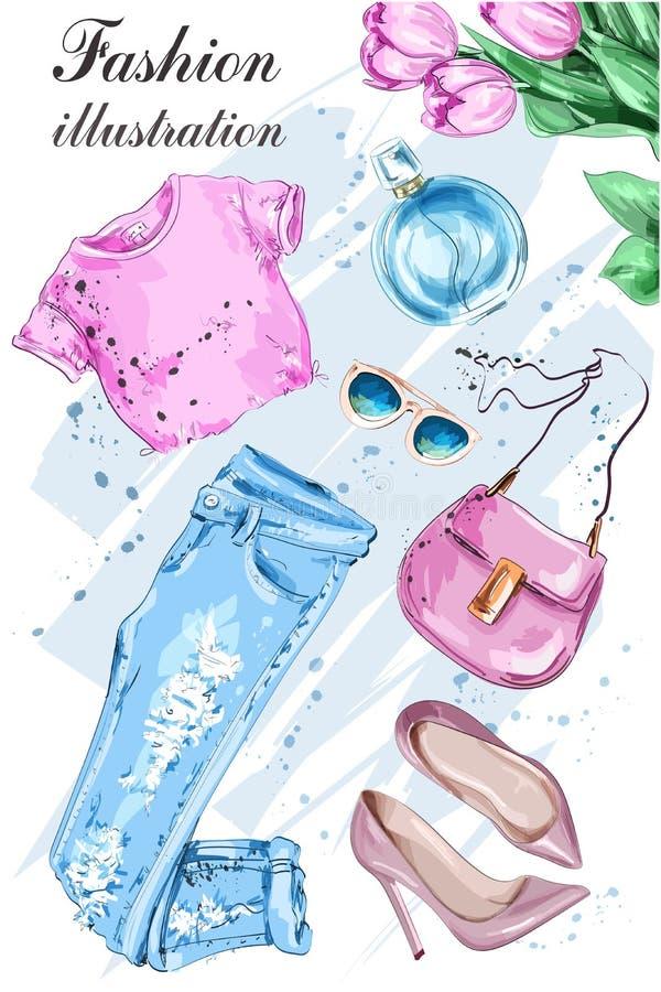 Mode stellte mit Blumen, Sommerkleidung, Tasche, Sonnenbrille, Schuhen und Parfüm ein lizenzfreie abbildung