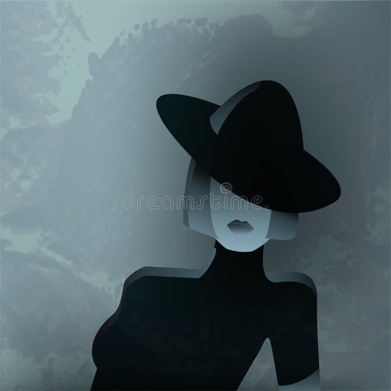Mode-strukturiertes Porträt einer Frau stock abbildung
