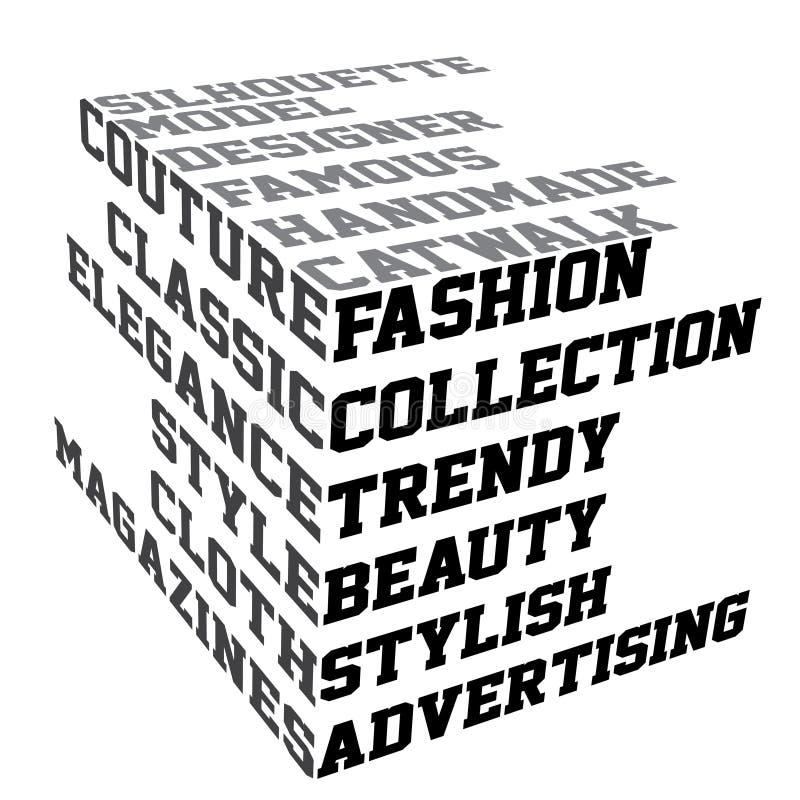 mode terms typografi stock illustrationer