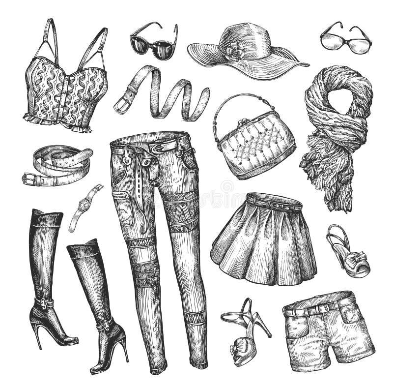 Mode Vektorsamling av att bekläda för kvinnor Hand-dragit skissa kjolen, överkanten, handväskan, kortslutningar, bältet, kängor,  stock illustrationer