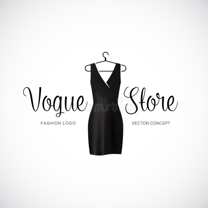Mode-Vogue-Speicher Logo Template With Black Dress lizenzfreie stockfotografie