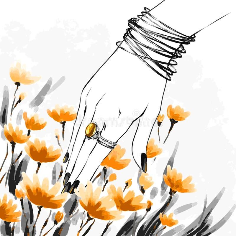 Mode Watercolourillustration, flirtendes sinnliches Mädchen lizenzfreie abbildung