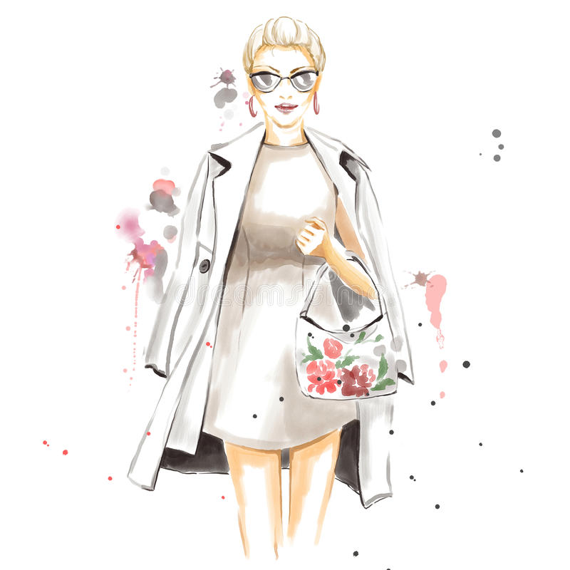 Modeaquarellillustration mit herrlichem Mädchen lizenzfreie abbildung
