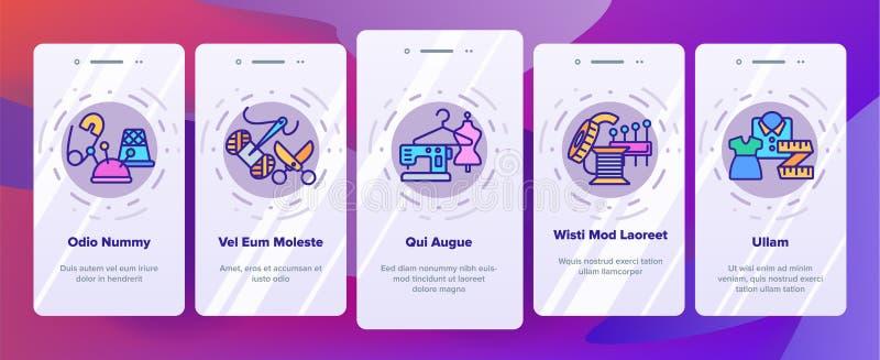 ModeAtelier och sy skärmen för sida för vektorOnboarding den mobila App stock illustrationer