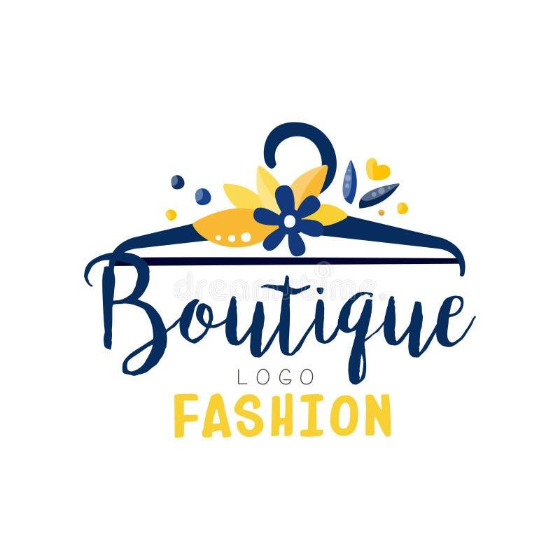 Modeboutiquelogoen, kläder shoppar, klär för etikettvektorn för lagret den idérika illustrationen royaltyfri illustrationer