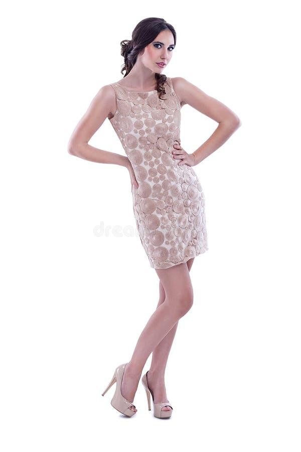 Modedame im Kleid stockbilder